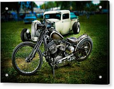 Panhead Harley And Ford Pickup Acrylic Print