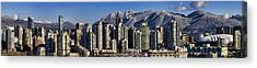 Pano Vancouver Snowy Skyline Acrylic Print by David Smith