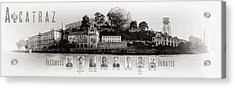 Panorama Alcatraz Infamous Inmates Black And White Acrylic Print by Scott Campbell