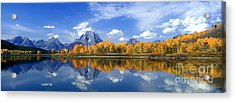 Panorama Fall Morning At Oxbow Bend Grand Tetons National Park Acrylic Print by Dave Welling