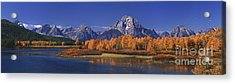 Acrylic Print featuring the photograph Panorama Fall Morning Oxbow Bend Grand Tetons National Park Wyoming by Dave Welling