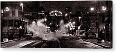Panorama Of Denver Union Station During Snow Storm Acrylic Print by Ken Smith