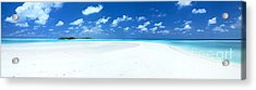 Panorama Of Deserted Sandy Beach And Island Maldives Acrylic Print by Matteo Colombo