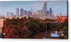 Panorama Of Downtown Houston At Dawn - Texas Acrylic Print