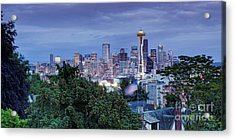 Panorama Of Downtown Seattle And Space Needle From Kerry Park At Dusk - Seattle Washington State Acrylic Print by Silvio Ligutti