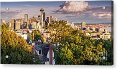 Panorama Of Downtown Seattle And Space Needle From Kerry Park - Seattle Washington State Acrylic Print by Silvio Ligutti
