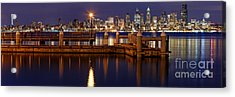 Panorama Of Downtown Seattle From Alki Beach - West Seattle Seacrest Park Washington State Acrylic Print by Silvio Ligutti