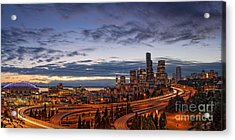 Panorama Of Downtown Seattle From Jose Rizal Park - Seattle Washington Acrylic Print by Silvio Ligutti