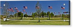 Acrylic Print featuring the photograph Panorama Of Flags - Veterans Memorial Park by Allen Sheffield