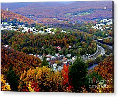 Panorama Of Jim Thorpe Pa Switzerland Of America - Abstracted Foliage Acrylic Print by Jacqueline M Lewis