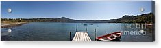 panorama of Lake Albano including pontoon and red rowing boat Acrylic Print