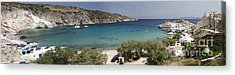 Panorama Of Mandrakia Fishing Village Milos Greece Acrylic Print by David Smith