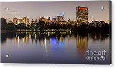 Panorama Of Mcgovern Lake And Texas Medical Center At Twilight- Hermann Park Houston Texas Acrylic Print