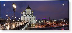 Panorama Of Moscow Cathedral Of The Christ The Savior - Featured 3 Acrylic Print by Alexander Senin