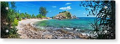 Panorama Of Pebble Beach Acrylic Print by Atiketta Sangasaeng
