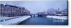 Panorama Of Salzburg In The Winter Acrylic Print by Sabine Jacobs