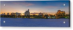 Panorama Of South Beach And Ocean Drive Hotels At Sunset - Miami Beach Florida Acrylic Print