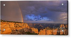 Acrylic Print featuring the photograph Panorama Rainbow Over Cape Royal North Rim Grand Canyon National Park by Dave Welling