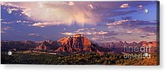 Panorama West Temple At Sunset Zion Natonal Park Acrylic Print by Dave Welling