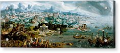 Acrylic Print featuring the painting Panorama With The Abduction Of Helen Amidst The Wonders Of The Ancient World by Maerten van Heemskerck