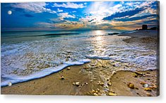 Panoramic Beach Sunset Acrylic Print by Eszra Tanner
