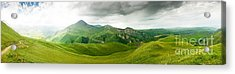 Panoramic Green Mountains Acrylic Print by Boon Mee