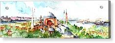 Acrylic Print featuring the painting Panoramic Hagia Sophia In Istanbul by Faruk Koksal