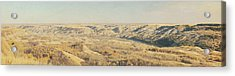 Panoramic Of The Badlands Of The Red Acrylic Print by Roberta Murray