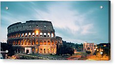 Panoramic Of The Colosseum At Night Acrylic Print by Matteo Colombo