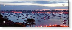 Panoramic Of The Marblehead Illumination Acrylic Print by Jeff Folger