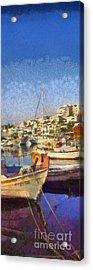 Panoramic Painting Of Mikrolimano Port Acrylic Print