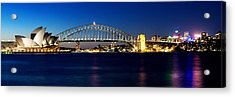 Acrylic Print featuring the photograph Panoramic Photo Of Sydney Night Scenery by Yew Kwang
