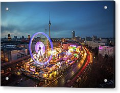 Panoramic View At Sunset Of Berlin With Acrylic Print by Andreas Mohaupt