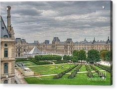Panoramic View Musee Du Louvre Acrylic Print by Malu Couttolenc