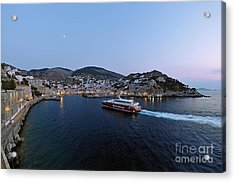 Panoramic View Of Hydra Port Acrylic Print