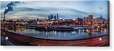 Panoramic View Of Moscow River - Kiev Railway Station And Square Of Europe - Featured 3 Acrylic Print by Alexander Senin