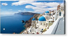 Panoramic View Of The Oia Village Acrylic Print