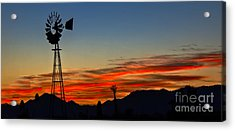 Panoramic Windmill Silhouette Acrylic Print by Robert Bales