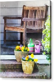 Pansies And Watering Cans On Steps Acrylic Print by Susan Savad