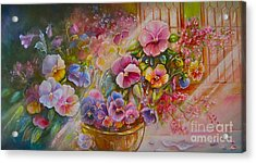 Pansies In Gold Acrylic Print
