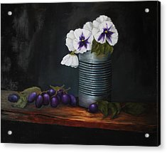Pansies In Tin Can Acrylic Print