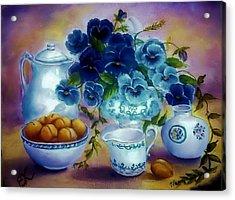 Pansies Of Blue Acrylic Print by Fineartist Ellen