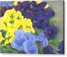 Pansy Garden Bright Colorful Flowers Painting Pansies Floral Art Artist K. Joann Russell Acrylic Print