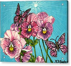 Acrylic Print featuring the painting Pansy Pinwheels And The Magical Butterflies by Kimberlee Baxter