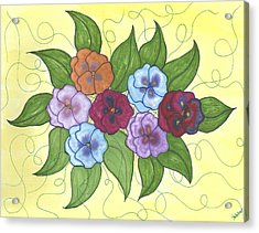 Pansy Posy Acrylic Print by Susie WEBER