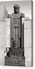 Pantages Theater Detail In Black And White Acrylic Print by Gregory Dyer