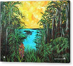 Acrylic Print featuring the painting Panther Island In The Bayou by Alys Caviness-Gober