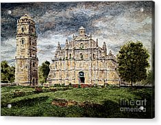 Paoay Church Acrylic Print by Joey Agbayani