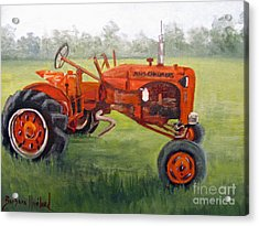 Papa's Red Tractor Acrylic Print