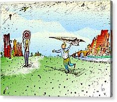 Paper Airplane & Bull's Eye Acrylic Print by Vasily Kafanov